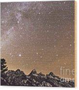 Milky Way Galaxy Over Teton Mountains Wood Print