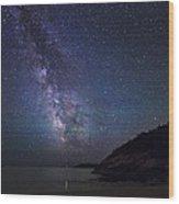 Milky Way On Sand Beach Wood Print