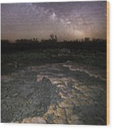 Milky Way On The Rock Wood Print