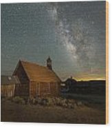 Milky Way Over Bodie Church Wood Print