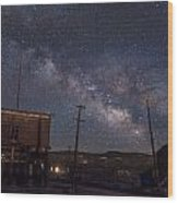 Milky Way Over Bodie Hotels Wood Print