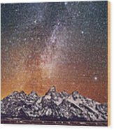 Milky Way Over Grand Teton Wood Print
