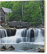 Mill And Waterfall Wood Print