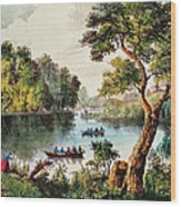 Mill Cove Lake Wood Print by Currier and Ives