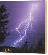 Mill Creek Lightning Wood Print