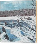 Mill Pond In Winter Wood Print