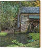 Mill Pond In Woods Wood Print