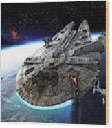 Millenium Falcon Being Escorted Wood Print