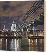 Millennium Bridge Wood Print by Stephen Norris