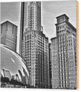 Millennium Park In Black And White Wood Print