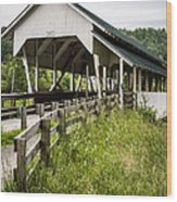 Millers Run Covered Bridge Wood Print by Edward Fielding