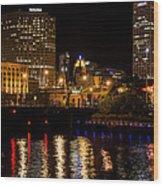 Milwaukee River And Downtown Skyline Wood Print