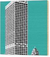 Milwaukee Skyline 1 - Teal Wood Print