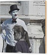 Mime In Venice Wood Print
