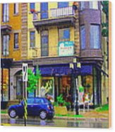 Mimi And Coco Clothing Boutique Laurier In The Rain  Plateau Montreal City Scenes Carole Spandau Art Wood Print