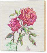 Minature Red Rose Wood Print