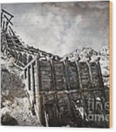 Mine Structure In Silver City Wood Print