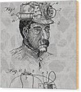 Miner's Lamp Patent Wood Print
