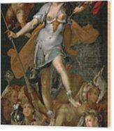 Minerva Victorious Over Ignorance Wood Print