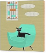 Mini Abstract With Aqua Chair Wood Print