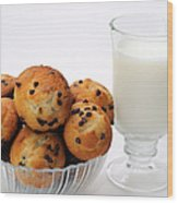 Mini Chocolate Chip Muffins And Milk - Bakery - Snack - Dairy - 1 Wood Print
