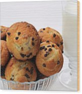 Mini Chocolate Chip Muffins And Milk - Bakery - Snack - Dairy - 2 Wood Print