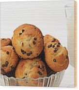 Mini Chocolate Chip Muffins And Milk - Bakery - Snack - Dairy - 3 Wood Print