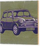 Mini Cooper - Car Art Sketch Poster Wood Print