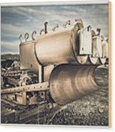 Mini Excavator Mailbox Wood Print