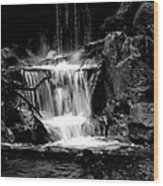Mini Falls Black And White Wood Print