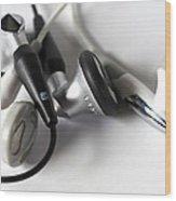 Mini Headphone Wood Print by Kenneth Feliciano