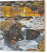 Mini Waterfall In The Porkies Wood Print