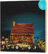 Miniature Log Cabin Scene With Old Time Vintage Classic 1930 Packard Labaron In Color Wood Print by Leslie Crotty