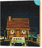 Miniature Log Cabin Scene With Old Time Vintage Classic 1962 Coca Cola Flower Power V.w. Micro Bus Wood Print