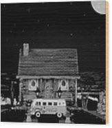 Miniature Log Cabin Scene With Old Vintage Classic 1962 Coca Cola Flower Power V.w. Bus In B/w Wood Print by Leslie Crotty