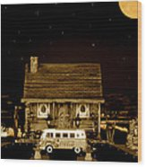 Miniature Log Cabin Scene With Old Vintage Classic 1962 Coca Cola Flower Power V.w. Bus In Sepia  Wood Print