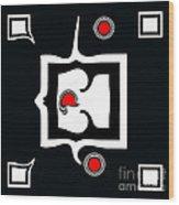 Minimalism Abstract Geometric Black White Red Art No.390. Wood Print by Drinka Mercep