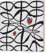 Minimalist Art Black White Red Abstract Art No.206. Wood Print