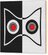 Minimalist Art Geometric Black White Red Abstract Print No.50. Wood Print