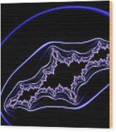 Minimalist Fractal Design Purple Blue Black Wood Print