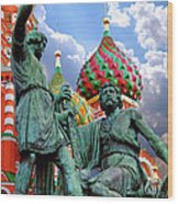 Minin And Pozharsky Monument In Moscow Wood Print by Oleksiy Maksymenko