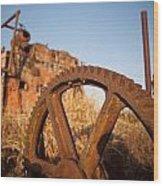 Mining Artefacts Historical Antique Machinery Wood Print by Dirk Ercken
