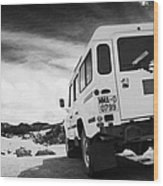 Ministerio De Medio Ambiente Land Rover At Teide National Park Tenerife Canary Islands Spain Wood Print
