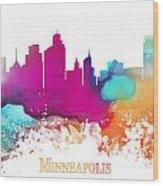 Minneapolis City Colored Skyline Wood Print