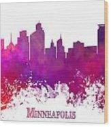 Minneapolis City Skyline Purple Wood Print