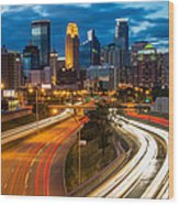 Minneapolis Light Trails Wood Print
