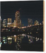 Minneapolis Night Skyline Wood Print