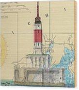 Minneapolis Shoals Lighthouse Mi Nautical Chart Map Art Wood Print