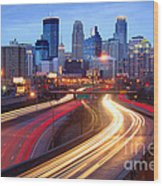 Minneapolis Skyline At Dusk Early Evening Wood Print