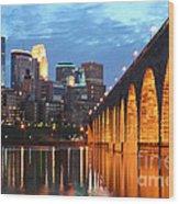 Minneapolis Skyline Photography Stone Arch Bridge Wood Print